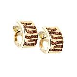 Золотые серьги с бриллиантами Модный принт