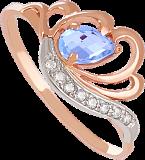 Золотое кольцо с топазом и фианитами Фарида