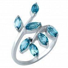 Серебряное кольцо Веточка с топазом лондон
