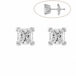 Серьги-пуссеты из белого золота Тара с бриллиантами