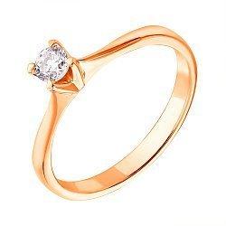 Кольцо из красного золота с бриллиантом, 0,22ct 000034596