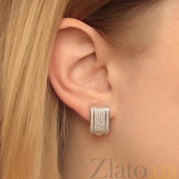 Серебряные серьги Кира с фианитами 000079023