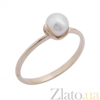Золотое кольцо в красном цвете с жемчугом Перонель 000023172