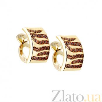 Золотые серьги с бриллиантами Модный принт KBL--С2207/крас/брил