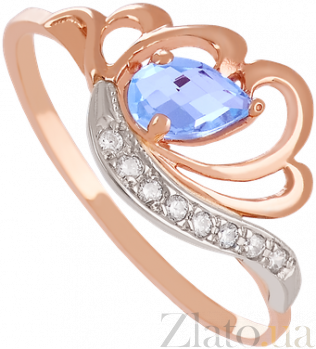 Золотое кольцо с топазом и фианитами Фарида VLN--112-1254-1