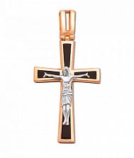 Крестик из красного и белого золота Искупление с черной эмалью