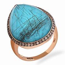 Кольцо в красном золоте Лавина с бриллиантами и дуплетом из кварца и бирюзы