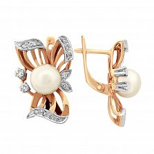 Золотые серьги с жемчугом и бриллиантами Rosie