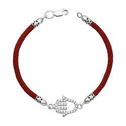 Браслет Рука Фатимы из крученого красного шнурка и серебра с фианитами 000133583