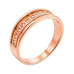 Золотое кольцо Белла в красном цвете с фианитами