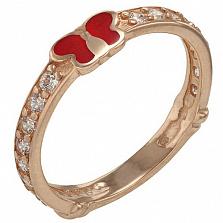 Золотое кольцо Алиса с фианитами и эмалью