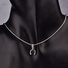 Серебряная подвеска Подковка с родированной поверхностью