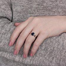 Кольцо в красном золоте Жаклин с синтезированным сапфиром и фианитами