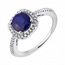 Серебряное кольцо Шарлот с сапфиром и фианитами