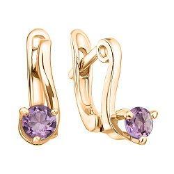 Позолоченные серебряные серьги с фиолетовыми фианитами 000029018