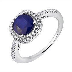 Серебряное кольцо с сапфиром и фианитами 000117795
