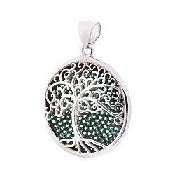 Серебряный кулон Дерево жизни с зелеными фианитами 000088075