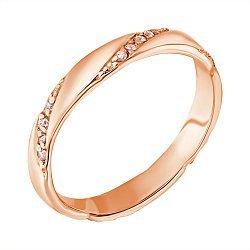 Золотое кольцо с косыми дорожками фианитов 000011301