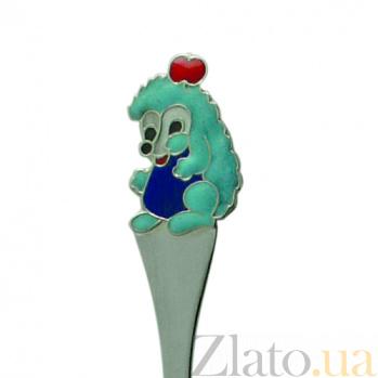 Серебряная чайная ложка с эмалью детская Ёжик ZMX--1285_1160