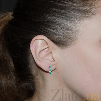 Серебряные серьги Фиолент с зелёным агатом 000013435