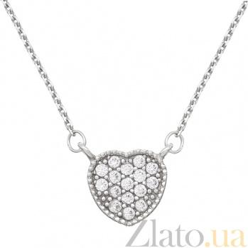 Серебряное колье Сердце LEL--12548