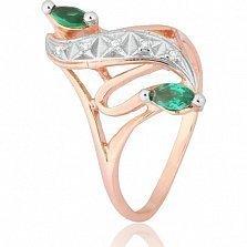 Позолоченное серебряное кольцо с зеленым цирконием Альфия