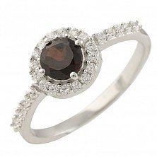 Серебряное кольцо Марта с гранатом и фианитами