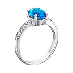Серебряное кольцо Кристина с голубым кварцем и фианитами