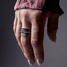 Серебряное черненое кольцо-антистресс Abbot с подвижной золотой накладкой