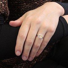 Серебряное кольцо Шанья с шампаневым и белыми фианитами