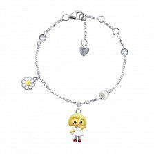 Серебряный браслет Камилла с подвеской-девочкой с эмалью,15х10 мм