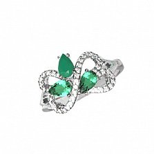 Серебряное кольцо Агния с зеленым агатом, зеленым кварцем и фианитами