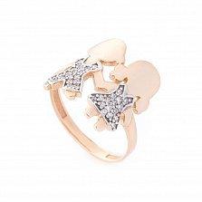 Золотое кольцо Дочка и Сын в красном цвете с белыми фианитами