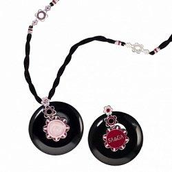 Колье из оникса Марион с розовым кварцем, гранатами и эмалью на шнурке