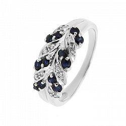Серебряное кольцо с сапфирами и бриллиантами 000019082