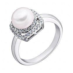 Серебряное кольцо с жемчугом и фианитами 000132583