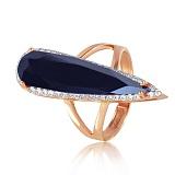 Золотое кольцо Галадриэль с черным ониксом и фианитами