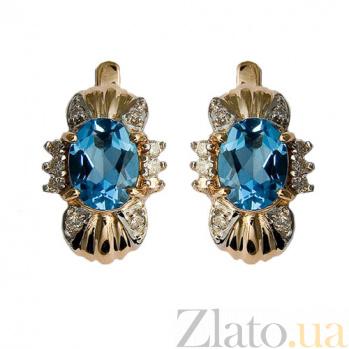 Золотые серьги с топазами и бриллиантами Флора ZMX--ET-6143_K