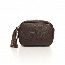 Кожаный клатч-косметичка Genuine Leather 1410 цвета горький шоколад с плечевым ремнем