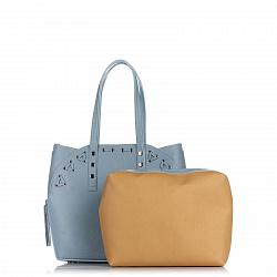Кожаная сумка на каждый день Genuine Leather 8657 голубого цвета с дополнительной сумкой-вкладышем