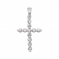 Крестик в белом золоте с бриллиантами 000106277