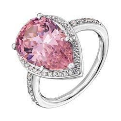 Серебряное кольцо с розовым и белыми фианитами 000134291