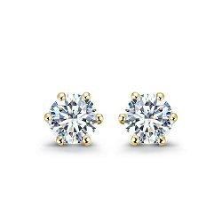 Серьги-пуссеты в желтом золоте Sweet Love с бриллиантами, 0,5ct 000070504
