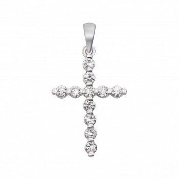 Хрестик у білому золоті з діамантами 000106277