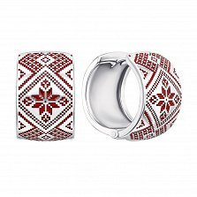 Серебряные серьги-конго с красной эмалью и родированием 000133738
