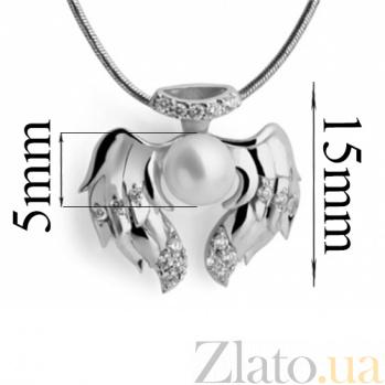 Серебряный подвес с жемчугом и цирконием Стриж SG--3339403000201