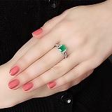Серебряное кольцо Дария с зеленым агатом и фианитами