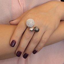 Серебряное кольцо Космос с тремя шариками разной фактуры