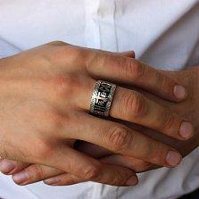 Серебряное кольцо Спаси и Сохрани с золотой накладкой, черной эмалью и молитвой на внутренней части