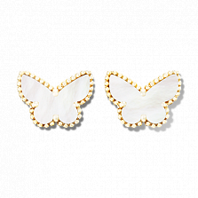 Перламутровые серьги-бабочки из желтого золота Alhambra